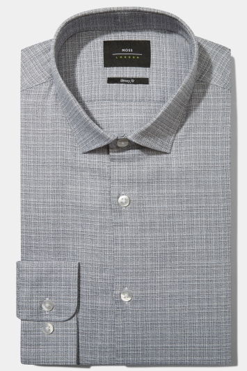 Moss London Skinny Fit Silver Single Cuff Textured Stretch Shirt