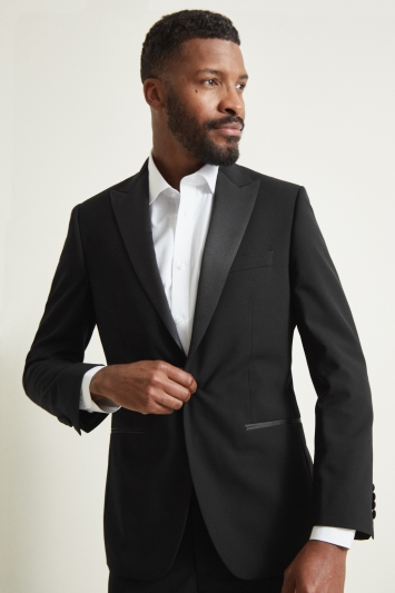 Moss 1851 Tailored Fit Black Peak Lapel Dress Jacket