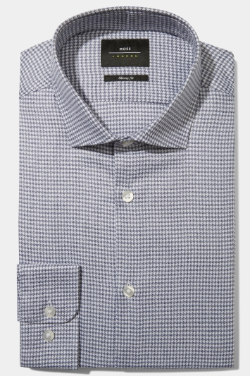 Moss London Skinny Fit Blue Single Cuff Jaspe Houndstooth Shirt
