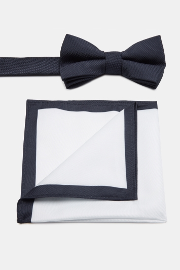 Navy Textured Bow Tie & Hank Set