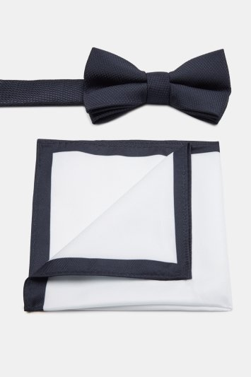Moss London Navy Textured Bow Tie & Pocket Square Set