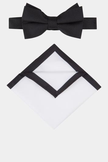 Black Textured Bow Tie & Hank Set