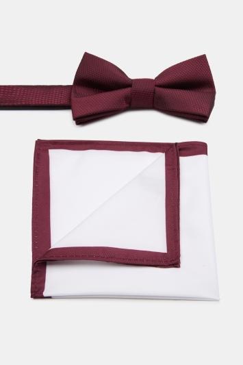 Wine Textured Bow Tie & Hank Set