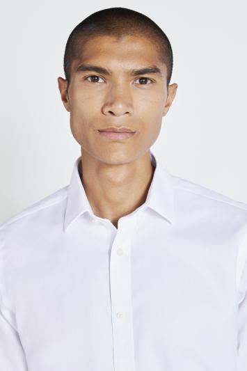 Tailored Fit White Double Cuff Textured Zero Iron Shirt