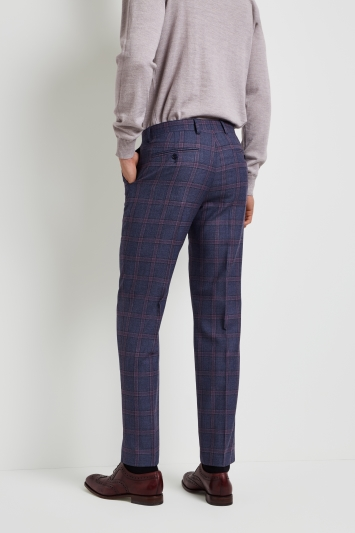 Ted Baker Tailored Fit Blue with Pink Check Trousers