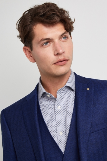 Ted Baker Gold Tailored Fit Blue Herringbone Jacket