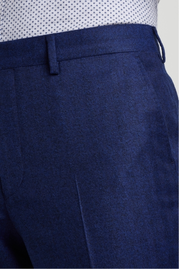 Ted Baker Gold Tailored Fit Blue Herringbone Trousers