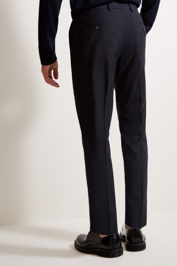 Moss Esq. Regular Fit Machine Washable Navy Plain Trousers with Stretch