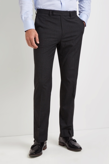 Moss Esq. Regular Fit Machine Washable Charcoal Trousers with Stretch