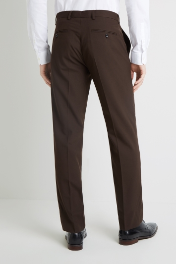 Moss Esq. Regular Fit Machine Washable Chocolate Brown Trousers with Stretch