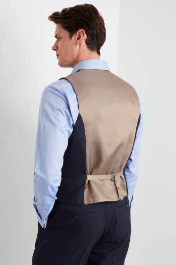 Ted Baker Gold Tailored Fit Airforce Blue Sharkskin Waistcoat