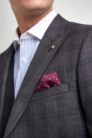 Ted Baker Gold Tailored Fit Grey with Burgundy Check Jacket