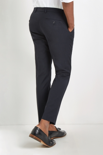 Moss London Skinny Fit Machine Washable Navy Plain Trousers with Stretch