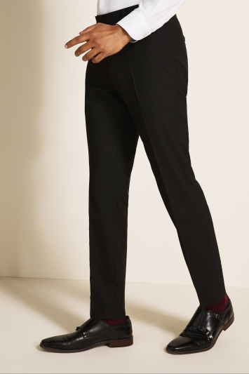 Moss London Skinny Fit Machine Washable Black Plain Trousers with Stretch