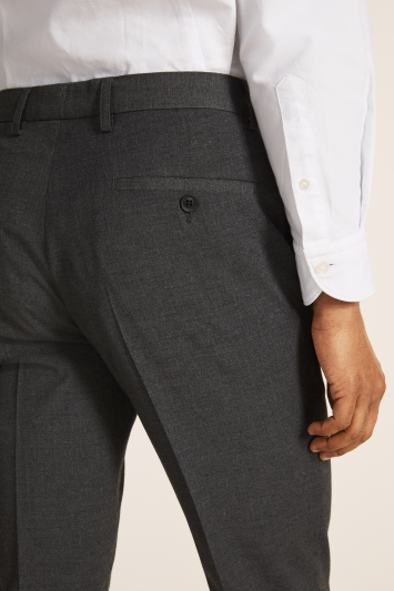 Moss London Skinny Fit Machine Washable Mid Grey Trousers with Stretch