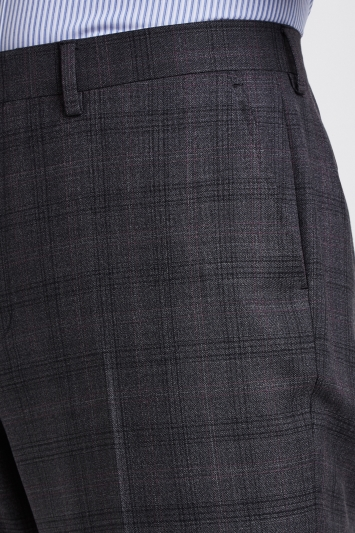 Ted Baker Gold Tailored Fit Grey with Bugundy Check Trousers