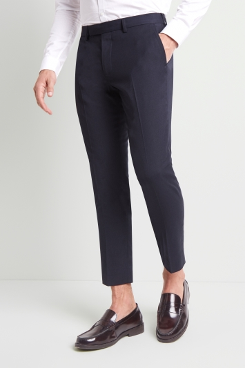 Moss London Slim Fit Machine Washable Navy Cropped Trousers with Stretch