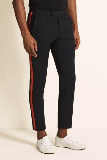 Moss London Slim Fit Navy with Red Side Stripe Cropped Trousers