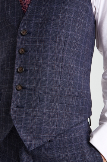 Ted Baker Gold Tailored Fit Blue with Plum Check Waistcoat
