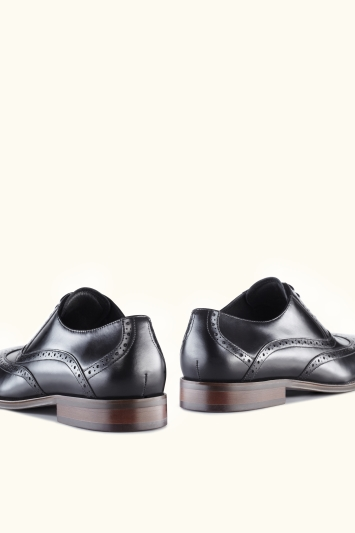 John White Hercules Black Brogue Shoes
