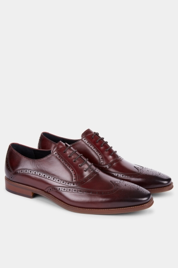 John White Hercules Burgundy Brogue Shoe