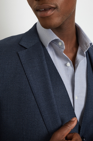 French Connection Slim Fit Blue Puppytooth Jacket