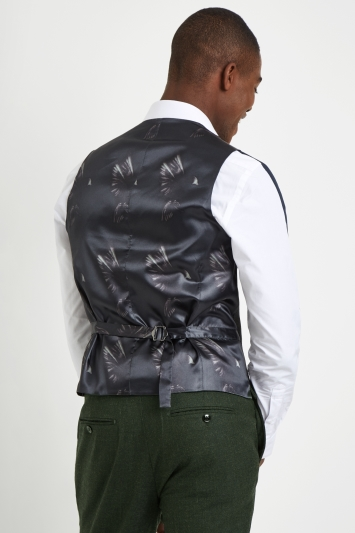 French Connection Slim Fit Olive Flannel Waistcoat