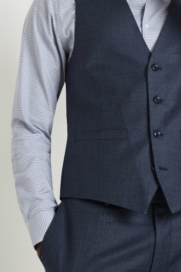 French Connection Slim Fit Blue Puppytooth Waistcoat