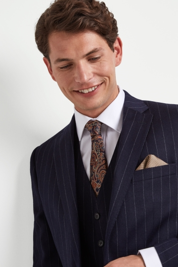 Moss 1851 Tailored Fit Blue Chalk Stripe Jacket