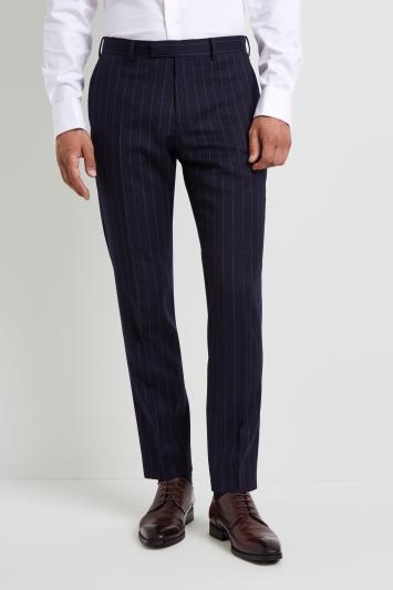Moss 1851 Tailored Fit Blue Chalk Stripe Trouser