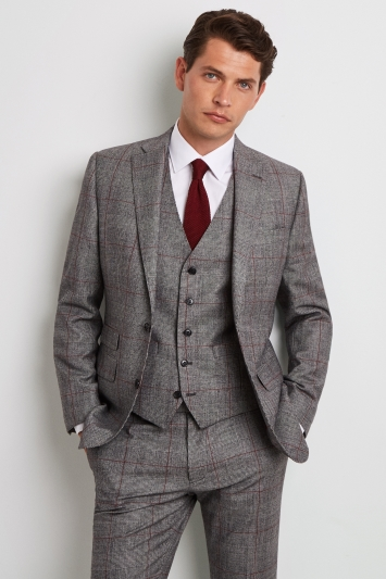 Moss 1851 Tailored Fit Black & White with Red Check Jacket