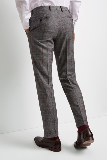 Moss 1851 Tailored Fit Black & White with Red Check Trousers