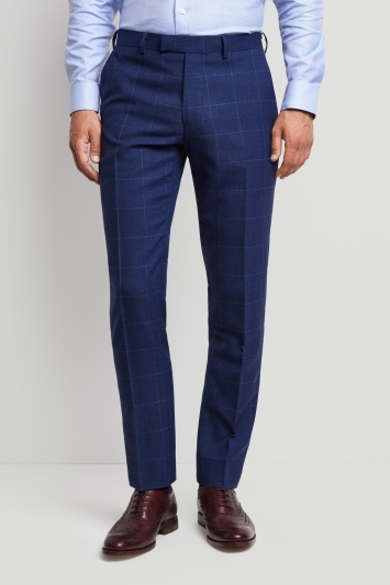 Moss 1851 Tailored Fit Bright Blue Check Trousers