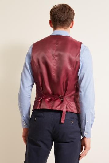Moss 1851 Tailored Fit Green Windowpane Waistcoat