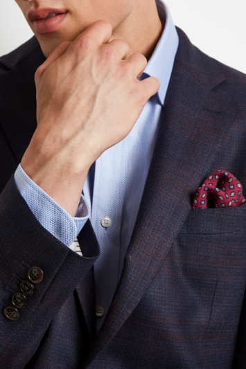 Ermenegildo Zegna Cloth Tailored Fit Navy Burgundy Check Jacket