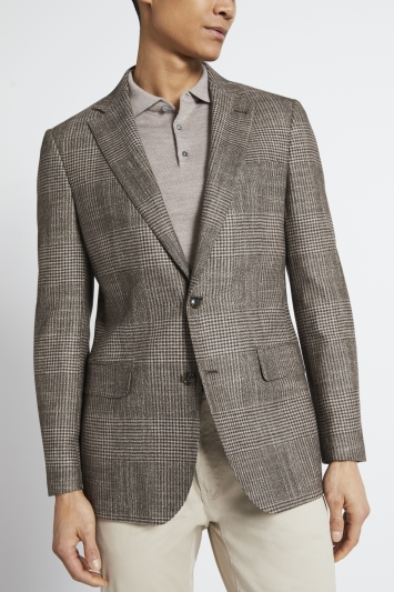 Ermenegildo Zegna Cloth Tailored Fit Brown Check Jacket