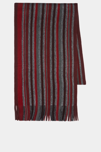 Moss 1851 Red Raschel Knitted Scarf