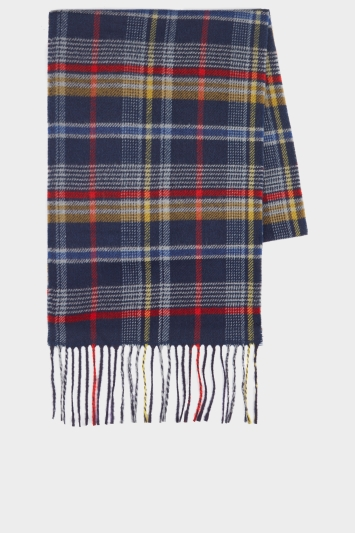 Moss 1851 Navy, Yellow & Red Checked Scarf