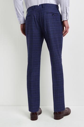 Lanificio F.lli Cerruti Dal 1881 Cloth Tailored Fit Bold Blue Check Milled iTravel Trousers