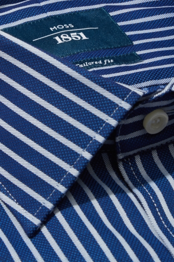 Moss 1851 Tailored Fit Navy Single Cuff Textured Stripe Shirt