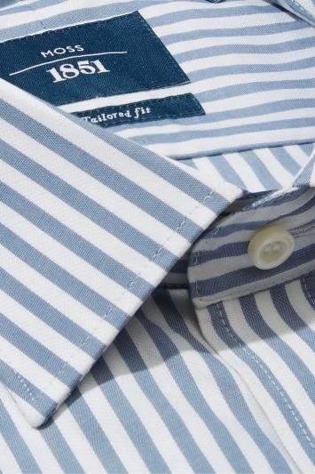 Moss 1851 Tailored Fit Slate Single Cuff Bengal Stripe Shirt