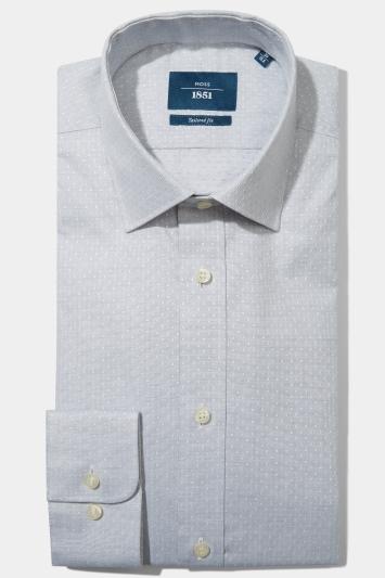 Moss 1851 Tailored Fit Grey Single Cuff Dobby Spot Shirt
