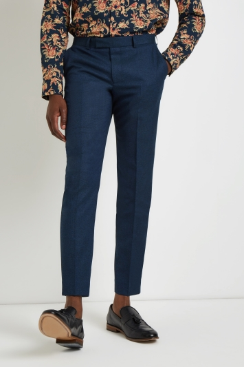 Moss London Skinny Fit Teal Trousers