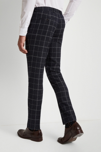 Moss London Skinny Fit Ink White Check Trousers