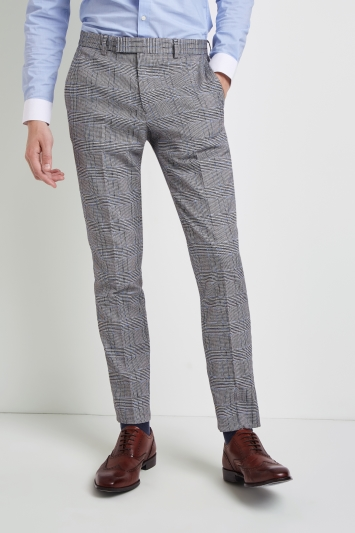 Moss London Skinny Fit Black and White Sky Trousers