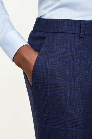Moss London Skinny Fit Blue Bold Check Trousers