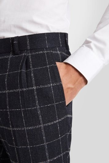 Moss London Skinny Fit Ink White Check Pleated Trousers