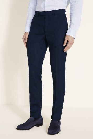 Moss London Slim Fit Blue Twisted Trousers