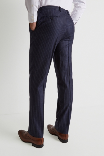 Savoy Taylors Guild Regular Fit Navy Double Stripe Trousers