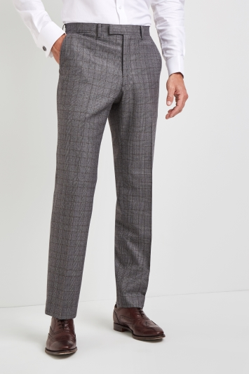 Savoy Taylors Guild Regular Fit Grey with Rust Check Trousers
